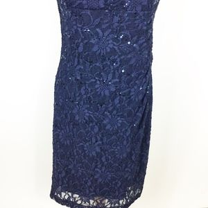 Lauren Ralph Lauren Dresses - Lauren Ralph Lauren Navy Lace Dress Ruched sz. 10